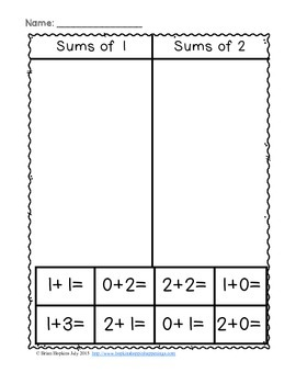 Addition Fact Sorts