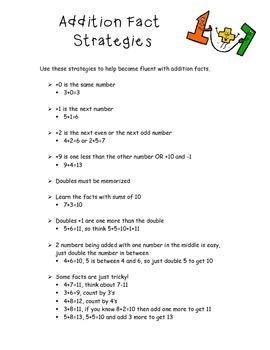 Addition Fact Strategies