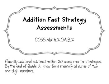Addition Fact Fluency (by Strategy) Assessments