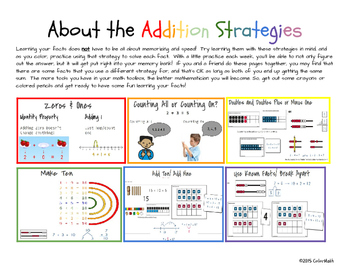 Addition Fact Strategy Coloring Book - April Holiday Theme