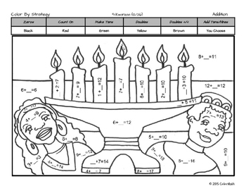 Addition Fact Strategy Coloring Book NO PREP December Holiday Theme