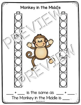 Addition Fact Strategy Monkey in the Middle Sample