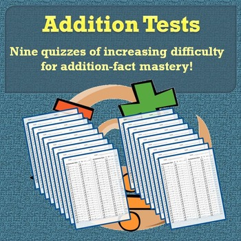 Addition Tests 0-10: Addition-Facts Quizzes Bundle