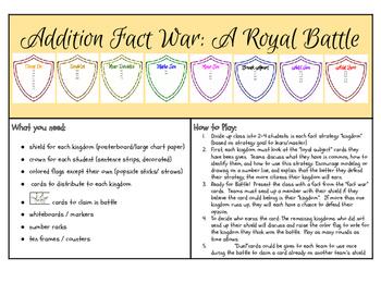 Addition Fact War: A Royal Battle