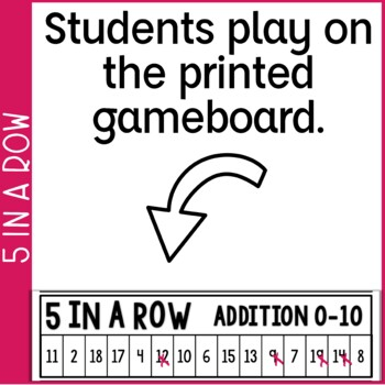 Addition Fact Fluency 0-10 5 in a Row: 3 No Prep Games & Powerpoints