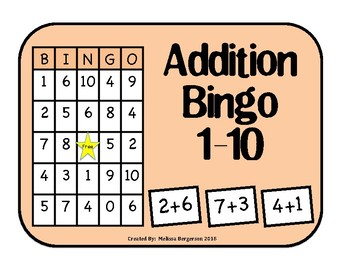 Addition Facts 0-10 Bingo