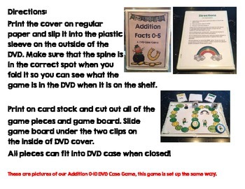 Addition Facts 0-10 DVD Case Game March Theme