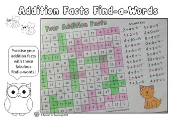 Addition Facts 0-10 Find-a-Words