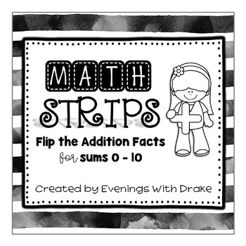 Commutative Property of Addition Math Practice Strips For Sums to 10