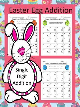 Single Digit Addition Easter Egg Worksheet