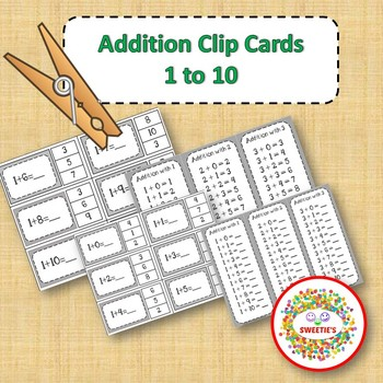 Addition Facts 1 to 10 Clip Cards