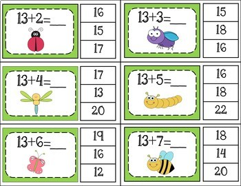Addition Facts 1 to 20 Clip Cards - Bug / Insect Theme