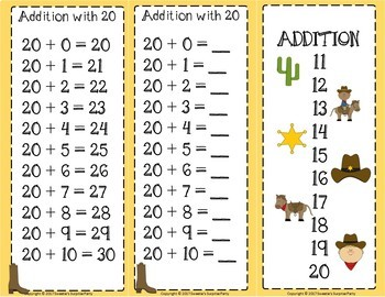 Addition Facts 1 to 20 Clip Cards - Cowboy Theme