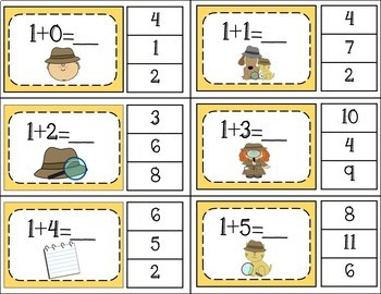 Addition Facts 1 to 20 Clip Cards - Detectives