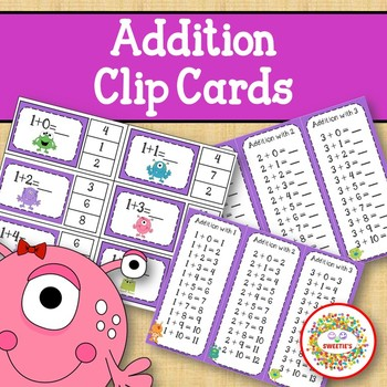 Addition Facts 1 to 20 Clip Cards - Monster Theme