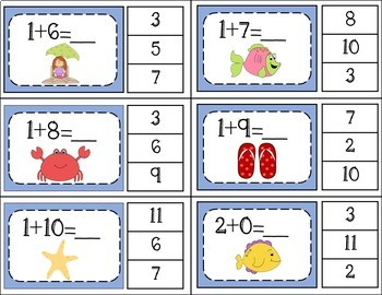 Addition Facts 1 to 20 Clip Cards - Ocean Theme