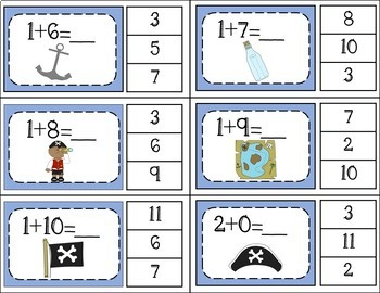 Addition Facts 1 to 20 Clip Cards - Pirate Theme