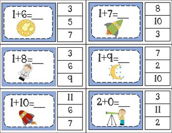 Addition Facts 1 to 20 Clip Cards - Space