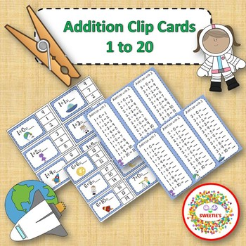 Addition Facts 1 to 20 Clip Cards - Space Theme