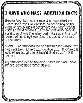 Addition Facts 10 - 20 Game I Have Who Has