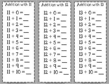 Addition Facts 11 to 20 Clip Cards