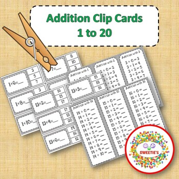 Addition Facts 1 to 20 Clip Cards