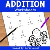 Addition Practice Worksheets for Kindergarten and 1st Grade