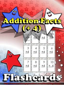 Addition Facts (+ 4) Flashcards - King Virtue