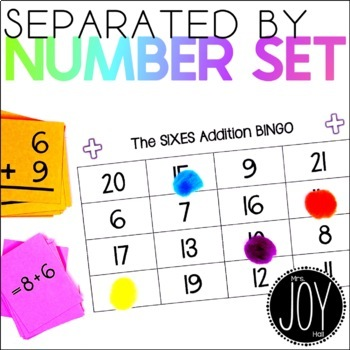 Addition Facts BINGO Sets 0-12 - 13 Different Games - Separated by Number Sets