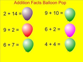 Addition Facts Balloon Pop - Smartboard