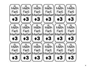 Addition Facts Brag Tags
