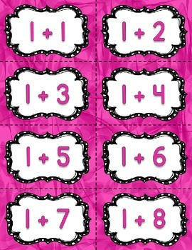 Addition Fact Fluency Practice Cards 0-20 {PINK} Flash Card