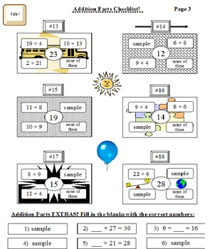 Addition Facts Checklist 100 Facts!