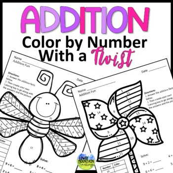 Addition Facts Color By Number with a Twist!