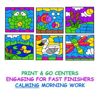 Addition Facts Color by Number Pond Life Set