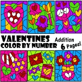 Addition Facts Color by Number Valentines Sums to 10