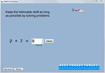 Addition Game: Addition-Fact Practice Computer Game--Addition Countdown