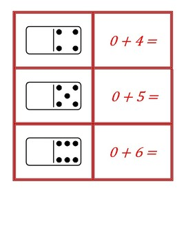 Addition Facts Concentration Using Dominos Game A