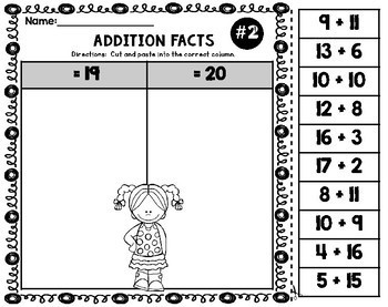 Addition Facts Cut and Paste Facts 11 to 20