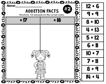 Addition Facts Worksheets Cut and Paste Facts 11-20