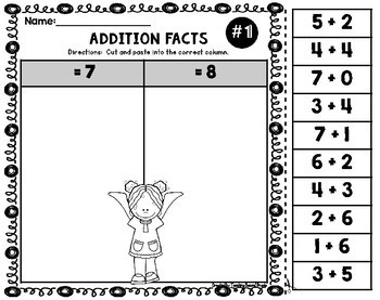 Addition Facts Worksheets | Facts to 10 | 1st Grade Math Worksheets