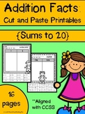 Addition Facts: Cut and Paste Printables {Sums to 20}