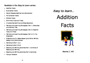 Addition Facts - Easy to Learn Series (pdf version)