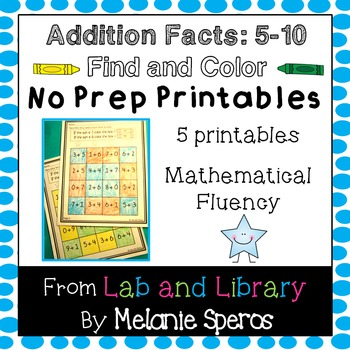 Addition Facts Find and Color No Prep Printables