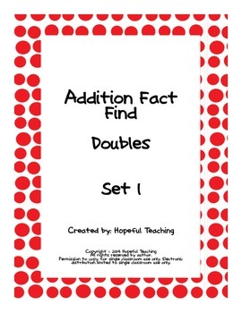 Addition Facts Finds- Doubles Set 1
