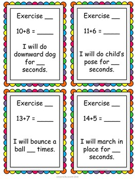 Addition Facts Fluency Kinesthetic Exercise Activity/Task Cards