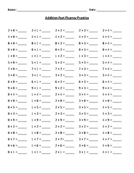 First Grade Addition Facts Fluency Practice Worksheet for ...