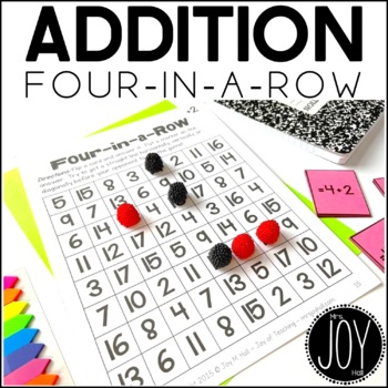 Addition Facts Four in a Row Game for Math Centers or Math