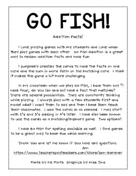 Addition Facts - GO FISH! Facts from 1-9
