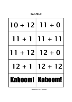 Addition Facts Game / Activity   KABOOM!